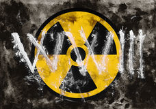 Third world war and nuclear warning. Symbol of radioactivit and radiation on dark grunge background. Dirty rough style and scratched material of post-apocalyptic royalty free stock images