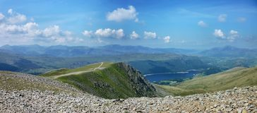 Thirlmere reservoir seen from helvellyn, panoramic Royalty Free Stock Image