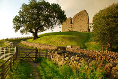 Thirlwall castle, British landscape, England, UK. The ruins of Thirlwall castle by the Hadrian's wall. England, Great Britain. British countryside rural stock photo