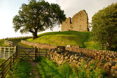 Thirlwall castle, British landscape, England, UK. The ruins of Thirlwall castle by the Hadrian's wall. England, Great Britain. British countryside