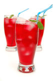 Thirst quenching juice. Freshly poured cranberry juice in a glass with mint leafs Royalty Free Stock Image