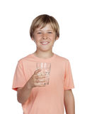 Thirsty adolescent with water for drink. Thirsty adolescent with water for drink isolated on white background royalty free stock photo