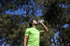 Thirsty athlete drinking water after workout Royalty Free Stock Photo