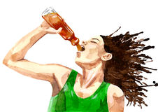 Thirsty athlete Stock Image