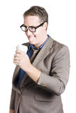 Thirsty businessman with coffee cup. Caffeine high Stock Photography