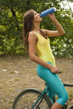 Thirsty fitness woman royalty free stock photos