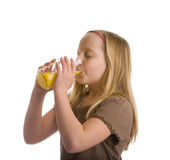Thirsty Girl Drinking Orange Juice Stock Photo