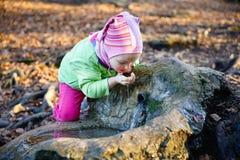 Thirsty girl drinking spring water Stock Image