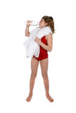 Thirsty girl drinking water with towel