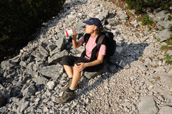 Thirsty hiker Royalty Free Stock Image