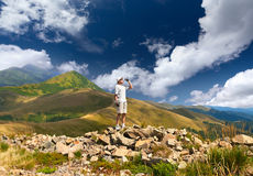 Thirsty hiker Stock Images