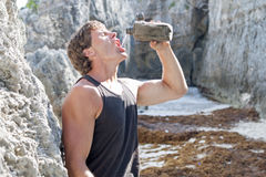 Thirsty hiker Royalty Free Stock Photography
