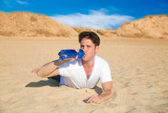 Thirsty man drinking water Royalty Free Stock Images