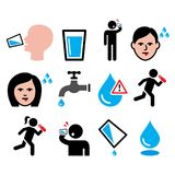 Thirsty man, dry mouth, thirst, people drinking water icons set Stock Photography
