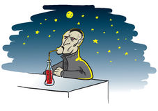 Thirsty vampire. Cartoon illustration of a thirsty vampire drinking a bottle of blood on a full moon night Royalty Free Stock Photography