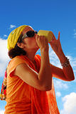 Thirsty woman drinking Royalty Free Stock Photo