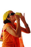 Thirsty woman drinking Royalty Free Stock Image