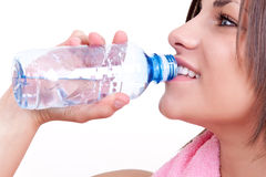 Thirsty woman drinking water Royalty Free Stock Images