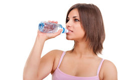 Thirsty woman after  training Stock Photo