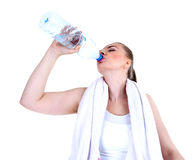 Thirsty woman with white towel Stock Images