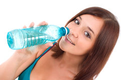 Thirsty young women drinking water stock photos