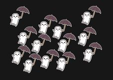 Ghosts with umbrellas fly in the dark. Thirteen beautiful little white ghosts with brown umbrellas fly in the dark vector illustration