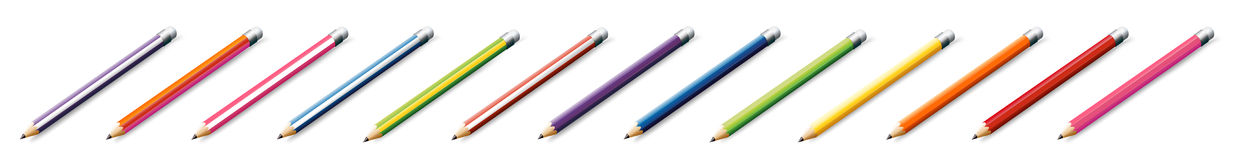 Thirteen colorful pencils Royalty Free Stock Image
