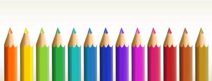 Thirteen colorful pencils Royalty Free Stock Photos