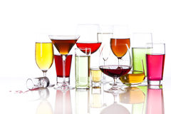 Variety of drinks in glasses Royalty Free Stock Images