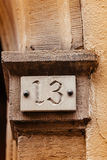 Thirteen house number plate Royalty Free Stock Photography