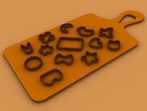 13 molds for baking cookies set on a cutting board. Thirteen molds for baking cookies set on a cutting board vector illustration