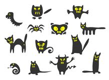 Thirteen monsters. Thirteen black Halloween monsters on a white background Stock Photography