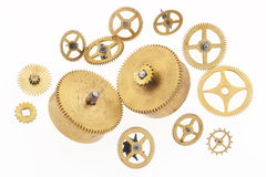 Thirteen old little cogwheels Royalty Free Stock Photography