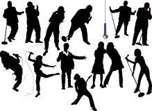 Thirteen singer silhouettes Stock Photos