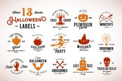 Thirteen Spooky Vintage Halloween Vector Badges, Labels or Logo Templates. Pumpkin, Ghost, Skull, Bones, Bats and Other. Symbols with Retro Typography. Isolated stock illustration