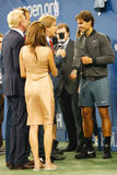 Thirteen times Grand Slam champion Rafael Nadal giving interview  after he won US Open 2013 Stock Photos