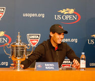 Thirteen  times Grand Slam champion Rafael Nadal during press conference after he won US Open 2013 Stock Photos