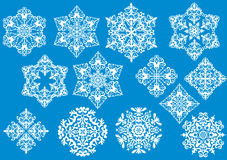 Thirteen white snowflakes collection Stock Photography