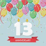 Thirteen years anniversary greeting card with candles. Confetti and balloons Stock Photo