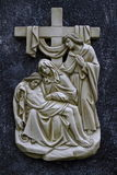 Thirteenth Station of Via Dolorosa. Thirteenth Station of Via Dolorosa Carvings, Ivory attached on Granite Base, seen in Bedono Church Central Java. The Stock Photo