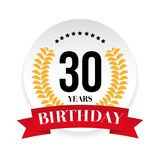 Thirtieth birthday badge label. Vector Royalty Free Stock Photography