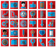 Thirty blue favicon flat icons on a red background for site Royalty Free Stock Images