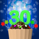 Thirty Candle On Cupcake Shows Sweet Royalty Free Stock Photo