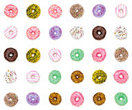 Thirty colorful donuts Royalty Free Stock Image