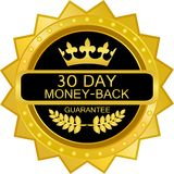 Thirty Day Money Back Gold Label Icon. Thirty day money back luxury gold label with a laurel wreath and a crown stock illustration