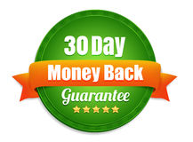 Thirty Day Money Back Guarantee. Green 30 day money back guarantee with an orange ribbon stock illustration