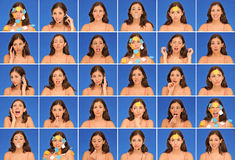 Thirty different beautiful woman expressions Royalty Free Stock Image