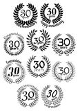 Thirty ears anniversary laurel wreaths Stock Photo