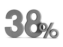 Thirty eight percent on white background. Isolated 3D illustrati. On Royalty Free Stock Photos