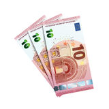 Thirty euro in bundle of banknotes on white Royalty Free Stock Photos